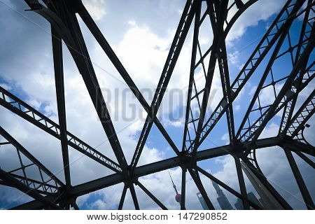 Looking up Shanghai Garden Bridge at Medieval close-up