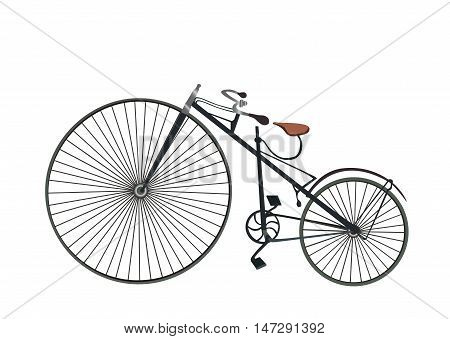 vintage bicycle. Vector realistic bicycle racing on a white background. Old bicycle flat cartoon vector illustration. Eps10.