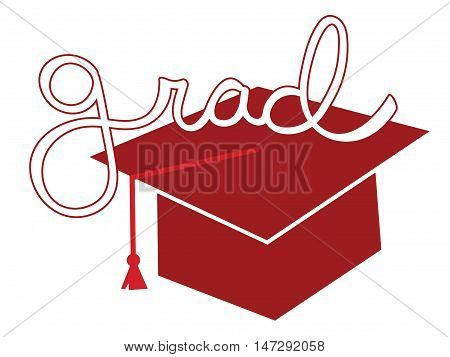 Isolated Red Grad Graduate Cap and Tassel