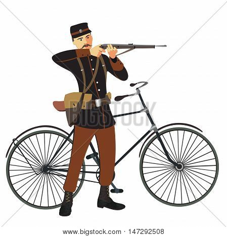 Military man and bicycle flat cartoon vector illustration. Eps10. Isolated on a white background.