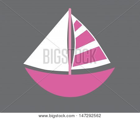 Isolated Pink Nautical Marine Sailboat with Sails