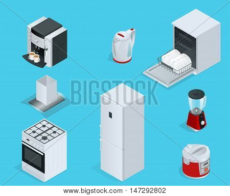 Isometric Home appliances. Set of household kitchen technics dishwasher, gas stove, coffee maker, blender, kettle, fridge, multivarka, extractor, crockery