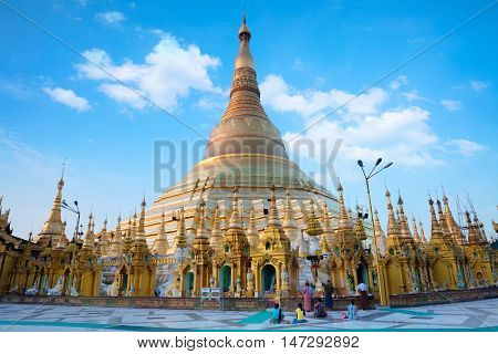 Shwedagon pagoda in the morning Yangon Myanmar