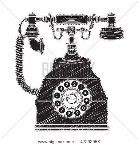 Vintage phone. Retro hand drawn vector illustration