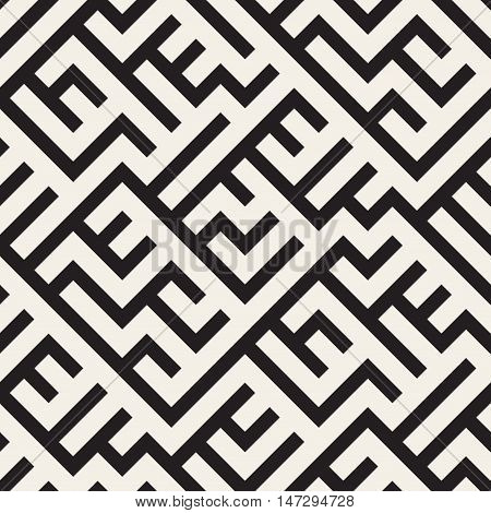 Vector Seamless Black And White Irregular Diagonal Lines Pattern. Abstract Geometric Background Design