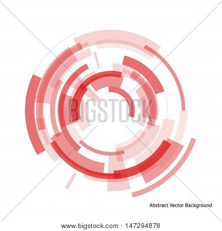 Abstract cyber background with a technical ring in the center. Geometrical shapes on the yellow background. Beautiful vector detail for your futuristic web-design.