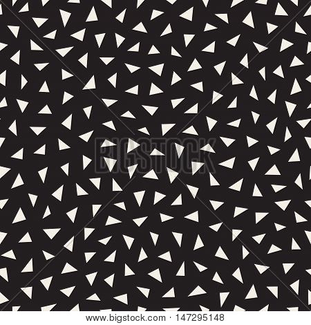 Vector Seamless Black And White Jumble Triangle Pattern. Abstract Geometric Background Design