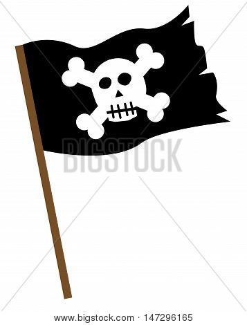 Black and White Pirate Flag with Skull