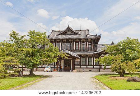 YAMATO KORIYAMA JAPAN - JULY 23 2016: Administrative building on the grounds of Yamato Koriyama castle Nara Prefecture Japan. Former Public Library erected in 1908