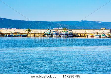Nessebar, Bulgaria - July 25, 2016: Port and ships view in Nesebar in Bulgaria