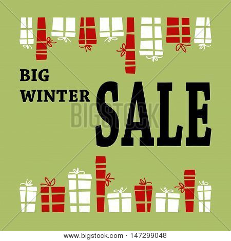 Winter sale background with black letters and gifts. Christmas sale. New year sale. Vector illustration