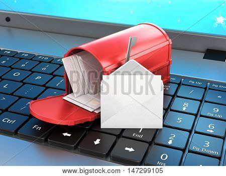 mailbox on the keyboard open letter on the keyboard. 3d illustration