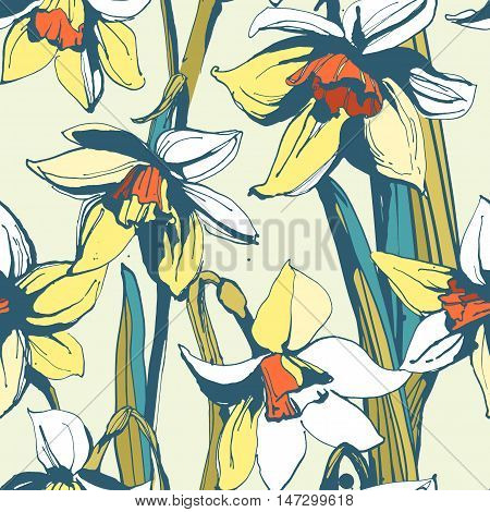 Floral Flower Narcissus Seamless Hand Drawn Pattern.colored Ink