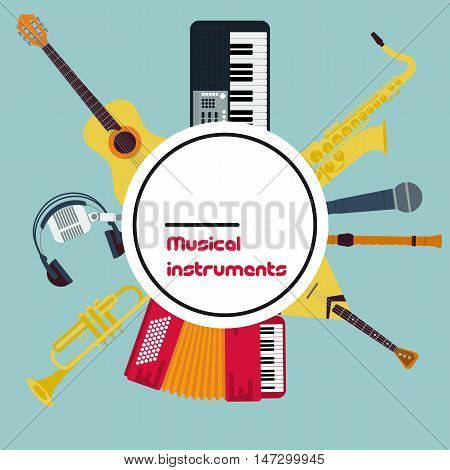 Vector Round Concept of Set Wind and String Musical Instruments with sign in center