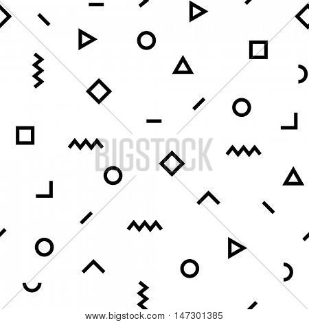 Vector hipster pattern with black and white geometric forms. Line, square, triangle, circle shape seamless . Retro 80s-90s Memphis