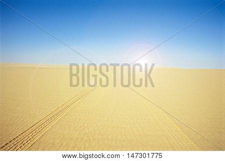 ARID DESERT WITH TRACK MARKS