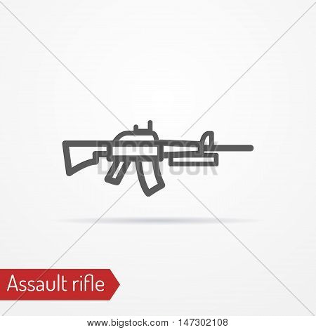Abstract isolated assault rifle icon in silhouette line style with shadow. Army vector stock image.