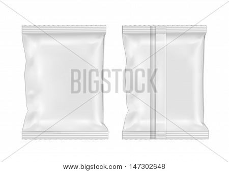 White blank foil food snack pack for chips candy and other products.