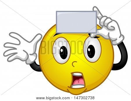 Mascot Illustration of a Panicked Smiley Holding a Blank Card Against His Forehead While Playing a Game of Charades