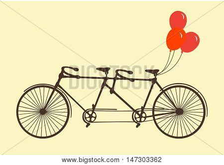 Classic romantic tandem bicycle with balloons flat cartoon vector illustration. Eps10. Isolated on a white background.