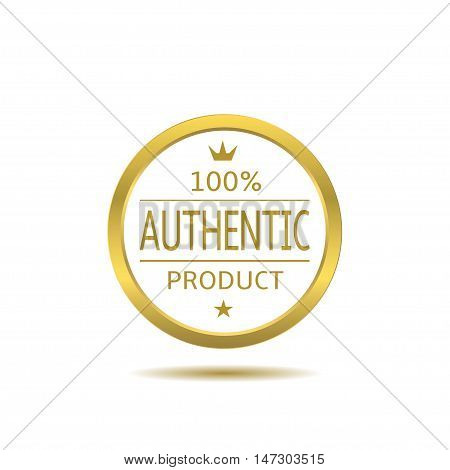 Authentic product label with golden frame. Business badge
