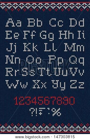 Handmade Knitted Abstract Background Pattern With Alphabet, Uppe