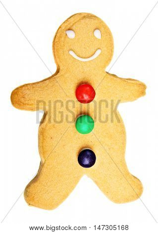 Gingerbread man cookie isolated on white