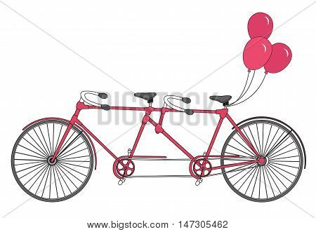 Tandem bicycle with balloons. Vector. Valentine's Day postcard with vintage tandem bicycle.