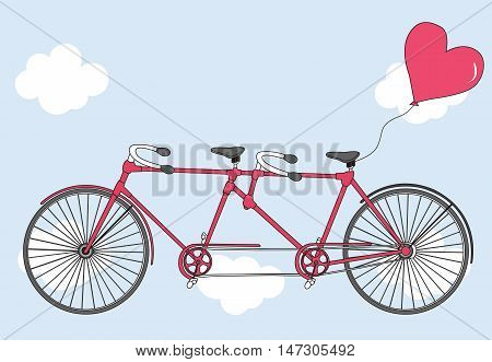 Tandem bicycle with hearts balloons. Valentine's day greeting card. Vector illustration. Bicycle with heart. Vector. Ideal for invitation design, save the date, wedding and other.