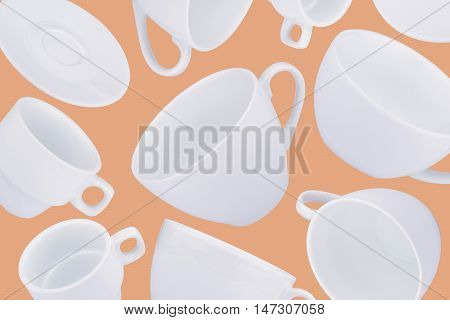 horizontal abstract pattern with white coffee cups on cream background