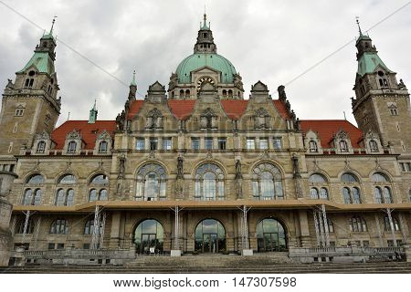 Hanover, Germany - April 18, 2016. Facade of Neues Rathaus in Hanover
