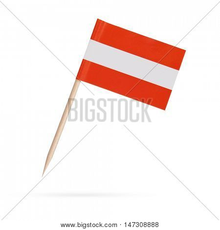 Miniature paper flag Austria. Isolated Austrian flag pointer on white background. With shadow below