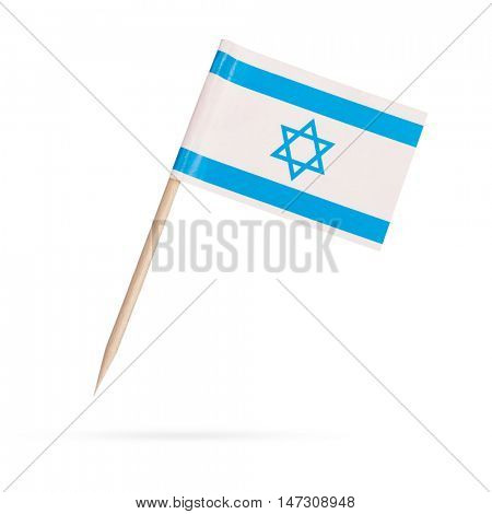 Miniature paper flag Israel. Isolated Israelian flag pointer on white background. With shadow below
