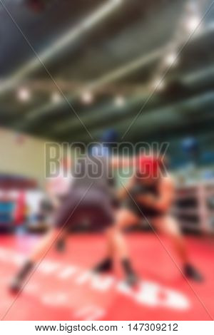 Boxing championship theme creative abstract blur background with bokeh effect