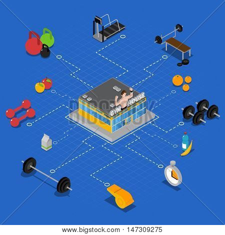 Gym isometric flowchart with fitness training and workout symbols vector illustration