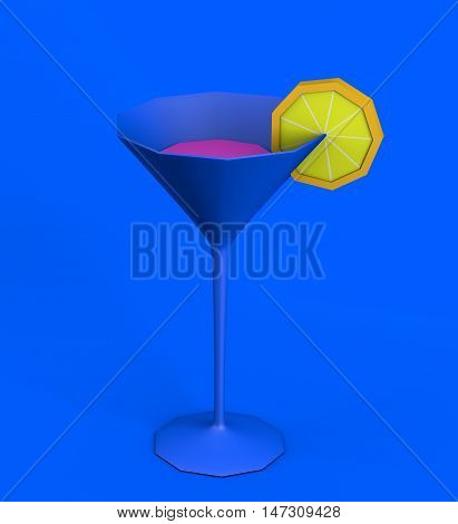 3d illustration of martini cocktail glass with pink liquid and lemon slice on blue background
