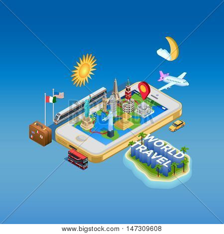 Isometric poster of map on smartphone screen with landmark monuments on it and different transports around vector illustration