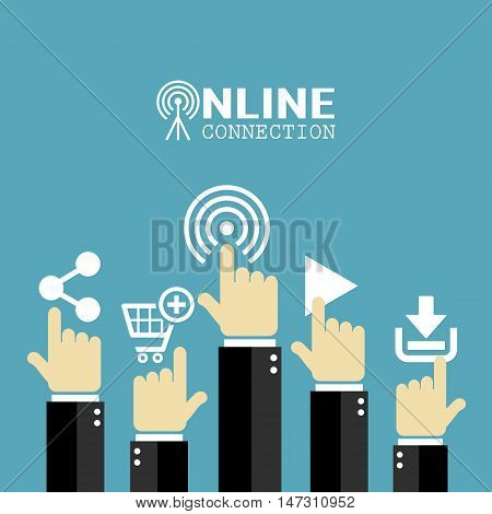 Stay connected online life conceptual poster illustration isolated on blue background