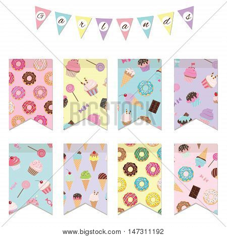 Bunting flags set for birthday party design. Patterns with sweets are added in swatches.