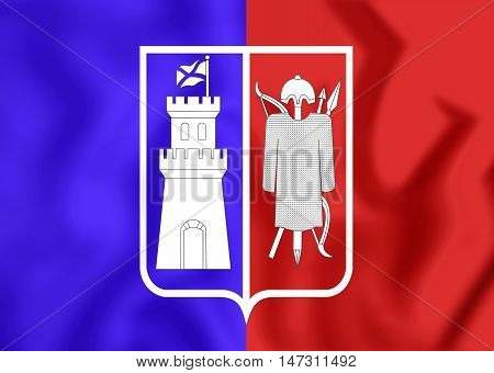 Flag of Rostov-on-Don Russia. 3D Illustration. Close Up.