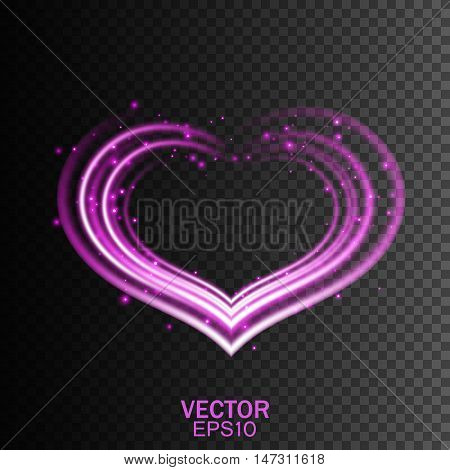 Glowing heart, Glowing romantic flame, Glow light effect, Vector illustration