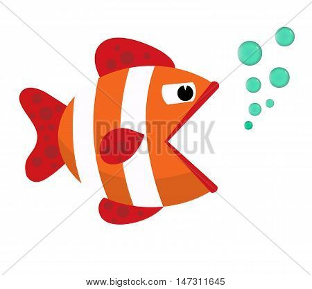 Fish mouth opened with bubbles. Fish on a white background. Vector Illustration. Flat cartoon. Eps10. Isolated on a white background.