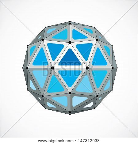 Vector Dimensional Wireframe Low Poly Object, Blue Spherical Shape With Black Grid. Technology 3D Me