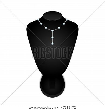 Black jewelry bust with a necklace on a white background. vector illustration.