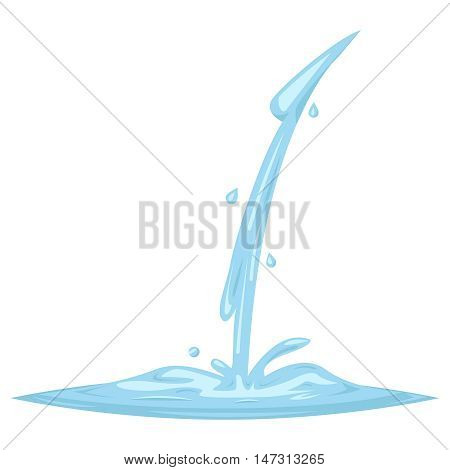 Flowing Water Splash Drop Wave Retro Vintage Cartoon Vine Design Vector Illustration