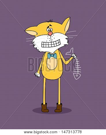 Confused cat stands still and holds in paw a skeleton of fish. Vector illustration.