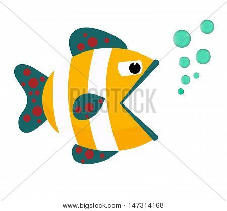 Fish Icon . Flat cartoon vector illustration. Eps10. Isolated on a white background.