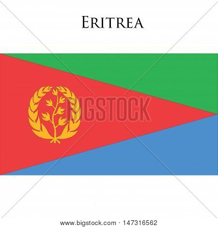 Flag of Eritrea against white background. Vector illustration
