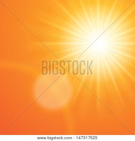 Sun with lens flare sunset orange sky vector background.