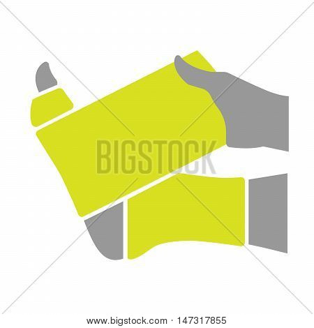 Flat icon injured leg or foot with bandage isolated on white background. Vector illustration